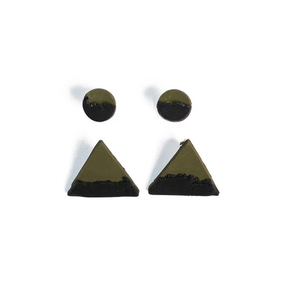 Half & Half Camo Green and black abstract two pack circle, triangle,  clay studs, nickle free, stainless steel, light weight, one of a kind