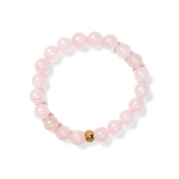 Gloss Rose Quartz 8mm beaded charm bracelet,  mens, women, unisex, healing, gemstones, calming,stretch, mala, love