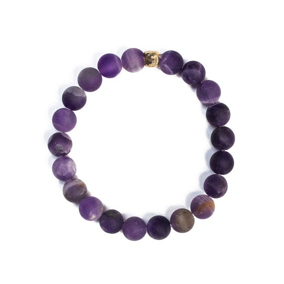 Frosted Amethyst beaded  Bracelet 8mm, gemstone, mala, marble, Meditation, Yoga, unisex, men, purple, natural, clarity, mattel