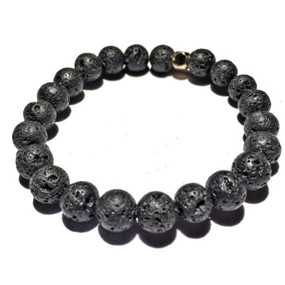 Black Lava Stone Oil Diffuser Beaded Charm Bracelet, Aroma Therapy, Custom, Mala, Yoga, Meditation, Unisex, Men, Women