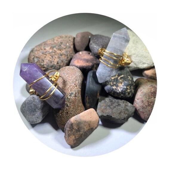 Adjustable Smoky Quartz or Amethyst Wire Wrapped Ring. Unsex, his, hers, wonens, men, girls, boho, yoga, healing, crystal, bridal, birthday.