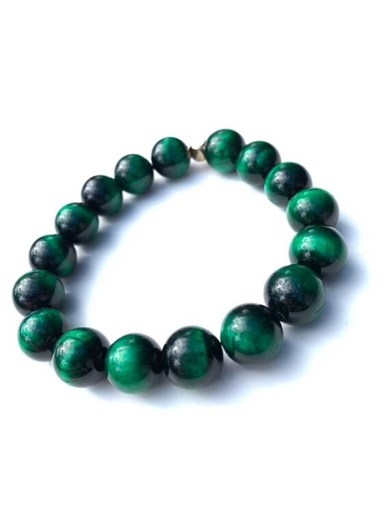 Green Tiger Eye 12 mm gloss jumbo beaded bracelets, gemstones, mens, women, unisex, groom, mala, yoga, meditation, bachelor, him, them