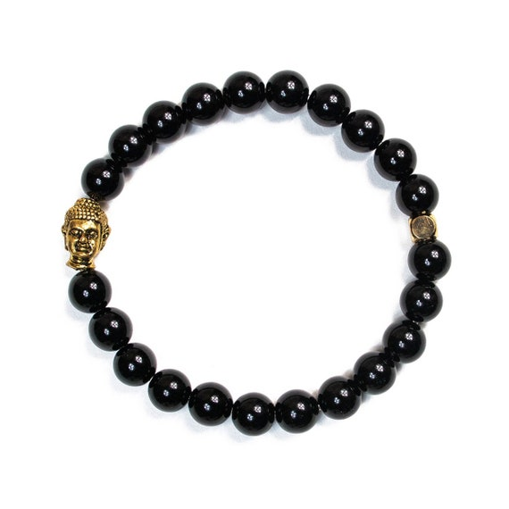 Gloss Onyx (Strength) gold plated buddha beaded  Bracelet 8mm, gemstone, black, Meditation, Yoga, Mala, Gold plated, mens, womens, unisex