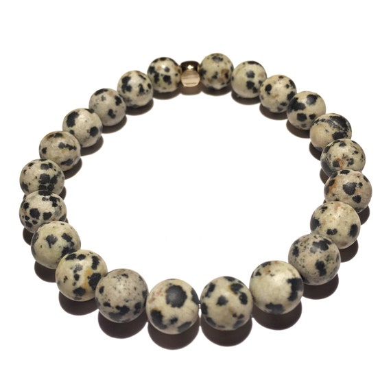 Dalmation Jasper beaded bracelets, gemstones, mens, women, unisex, groom, gift, mala, yoga, meditation, bachelor, natural, healing crystal