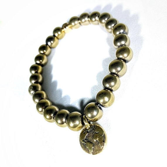 Hearts for Humanity: World Peace Gold Hematite beaded Charm Bracelet 8mm, men, Custom, Meditation, Yoga, Mala, women, unisex, charity