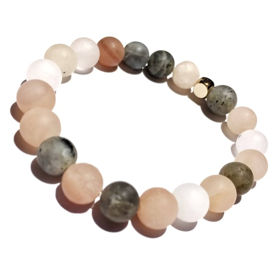 SPECIAL EDITION Power of Love: Matte Morganite beaded Bracelet, unisex, gemstone, Meditation, Yoga, Mala, Gold Plated, mens, womens, love,
