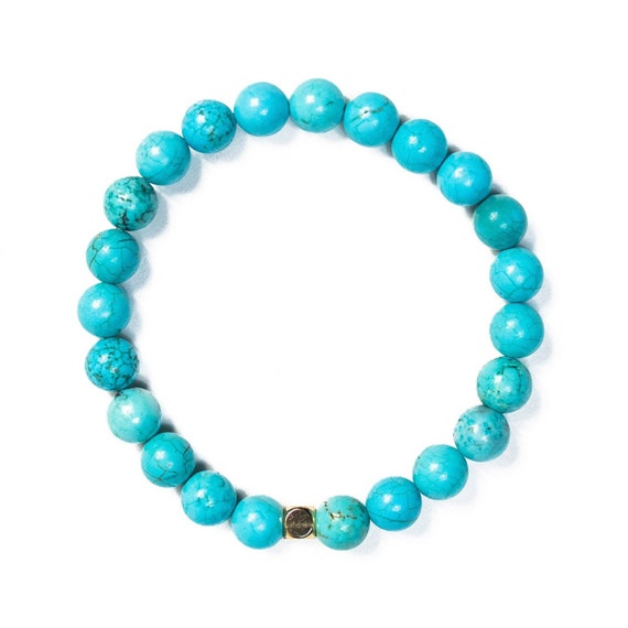 Classic Vibrant Turquoise beaded  Bracelet 8mm, gemstone, mala, marble, Meditation, Yoga, unisex, men