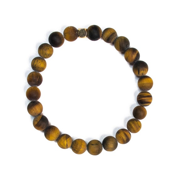 Matte brown Tiger Eye beaded bracelets, gemstones, mens, women, unisex, groom, gift, mala, yoga, meditation, bachelor, minimal, natural