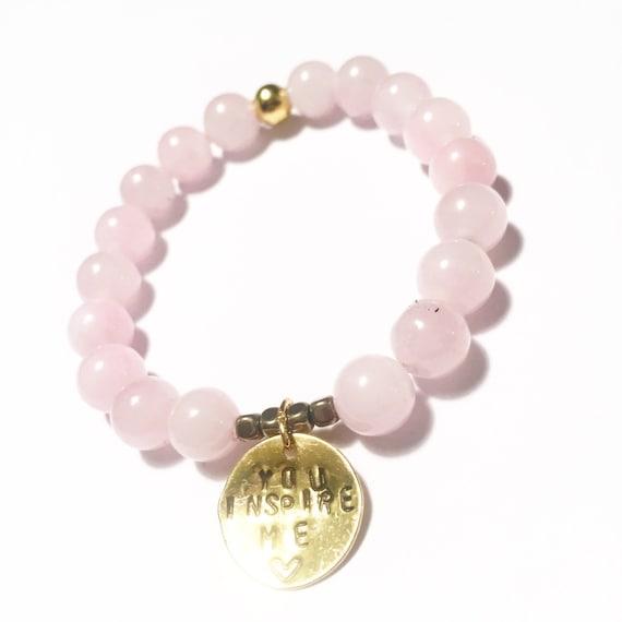 Rose Quartz Personalized Handstamped beaded charm bracelet, hematite, mens, women, unisex, healing, gemstones, calming,stretch, mala