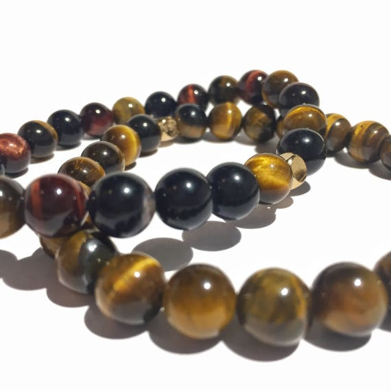 Stability Stack: Multicolor Tiger Eye & classic brown Tiger Eye beaded bracelets, gemstones, mens, women, unisex, groom, gift, mala, yoga