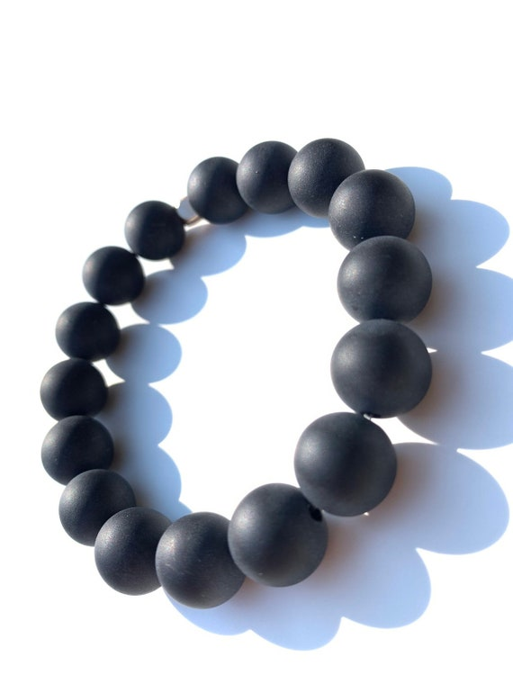 12 mm jumbo Matte Onyx (Strength) beaded  Bracelet 8mm, gemstone, black, Meditation, Yoga, Mala, Gold plated, mens, womens, unisex