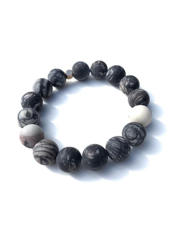 Zebra Jasper 12 mm Jumbo beaded bracelets, gemstones, mens, women, unisex, groom, gift, mala, yoga, meditation, bachelor, natural, healing