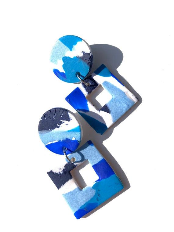 Jojo: large ocean blue geometric blue clay dangle drop earrings, women, girls, statement, one of a kind, polymer, color block, turquoise,