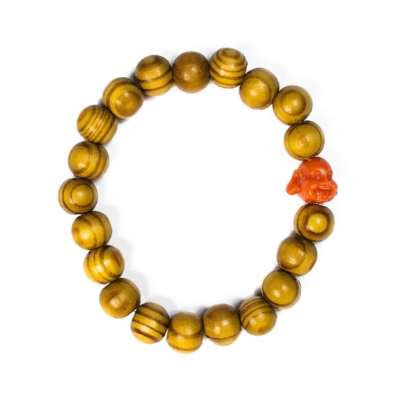 Ringed Wood Esstential Oil Diffuser Bracelet: Beaded, buddha, buddhist, yoga, zen, meditstion, unisex, happy, yellow, orange