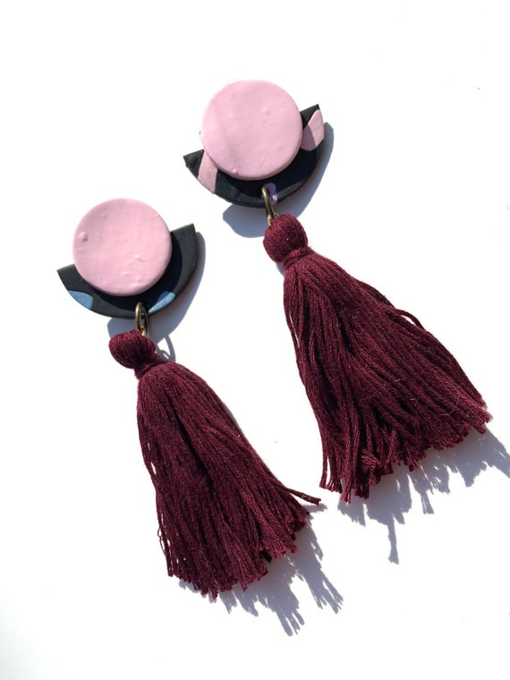 Elle: One of a Kind Clay Dangle Drop Earrings in pink & ruby red with abstract patterns white tassel, statement, women, polymer, silver