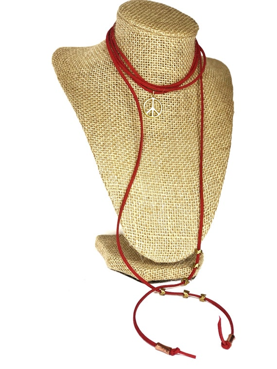 Hearts for Humanity: Peace Suede Choker or Wrist Wrap, Red, metallic accent, Gold Plated charm, women, girls, charity, cause, vegan
