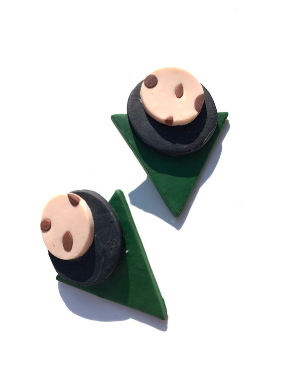 Ali: green, brown & nude  eigities inspired geometric clay earrings, women, girls, statement, one of a kind, polymer, color block, tribal