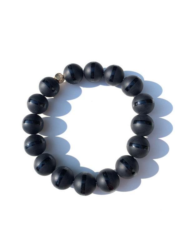 Matte wirh Gloss ring Onyx 12mm jumbo Beaded Bracelet, Custom, Gold Plated, Mala, Yoga, Meditation, Unisex, Men, Women, bachelor, groom