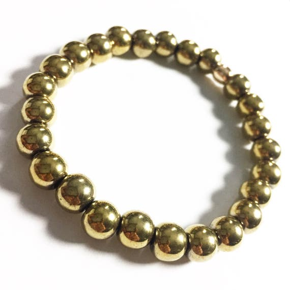 Gold Hematite beaded Bracelet, unisex, gemstone, Meditation, Yoga, Mala, Gold Plated
