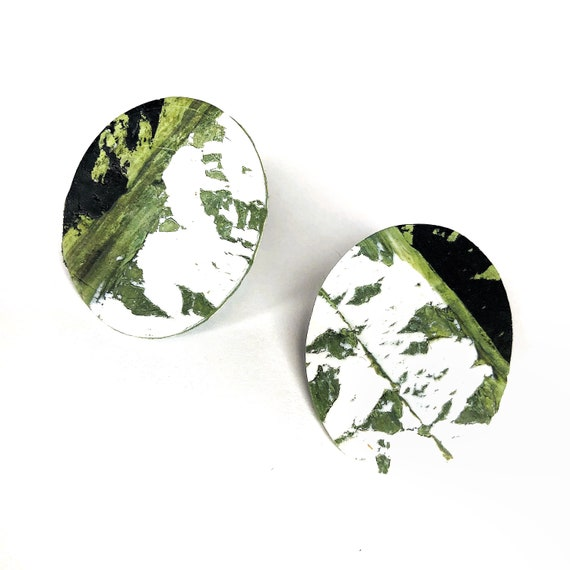 Black White Green Marble Oversized Stud Earrings: womens, girls, statement, boho, minimal,  clay, light, polymer, nickle free, tropical