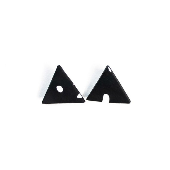 Black & White abstract triangle polymer clay studs, nickle free, stainless steel, statement, light weight, one of a kind, dots, speckles