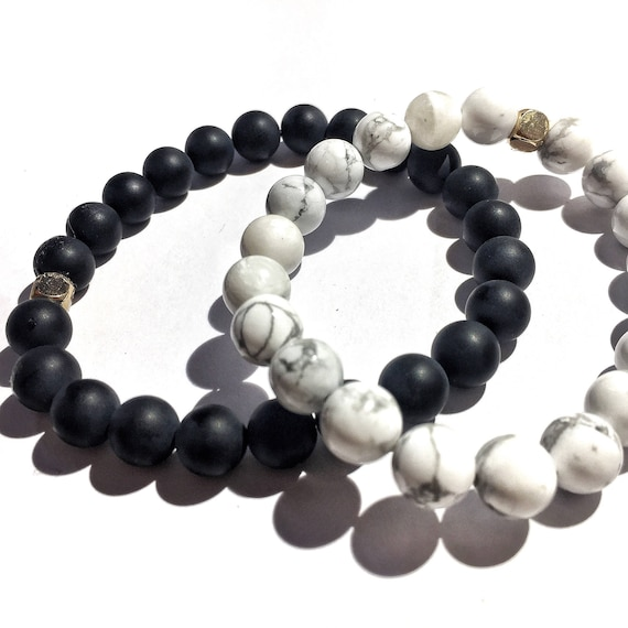 Strength & Inspiration stack: Howelite and matte onyx beaded  Bracelet 8mm, gemstone, white, marble, Meditation, Yoga, Mala, Gold plated