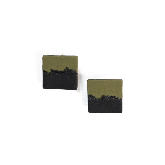 Half & Half Camo Green and black abstract square polymer clay studs, nickle free, stainless steel, light weight, one of a kind, hunter