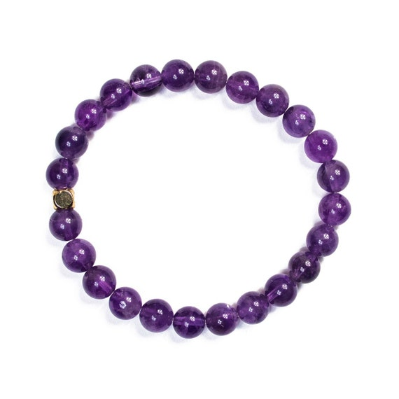 Gloss Amethyst beaded  Bracelet 8mm, gemstone, mala, marble, Meditation, Yoga, unisex, men, purple, natural, clarity, mattel