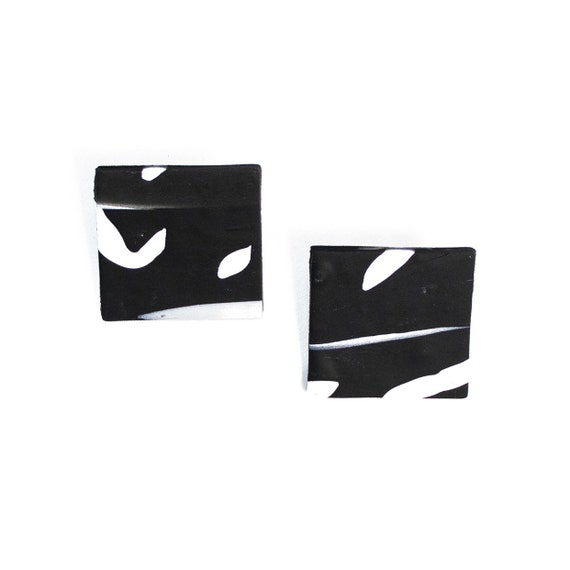 Black & White abstract square polymer clay studs, nickle free, stainless steel, statement, light weight, one of a kind, dots, speckles
