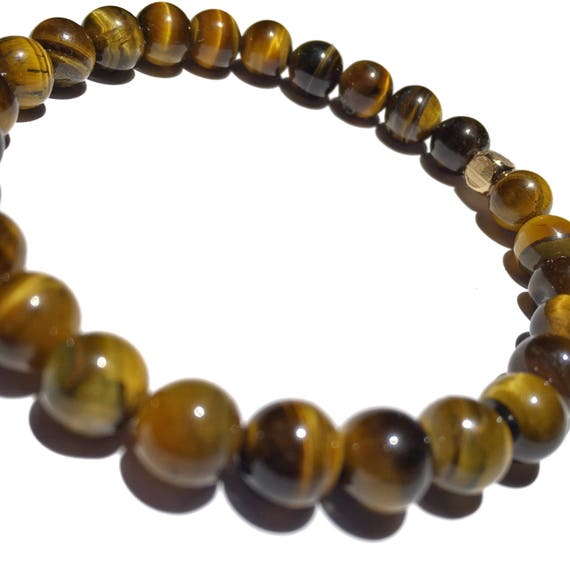 Classic gloss brown Tiger Eye beaded bracelets, gemstones, mens, women, unisex, groom, mala, yoga, meditation, bachelor, minimal, natural