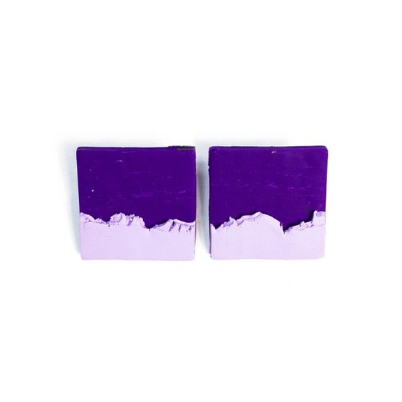 Half & Half Purple and Lavender abstract square polymer clay studs, nickle free, stainless steel, light weight, one of a kind, purple