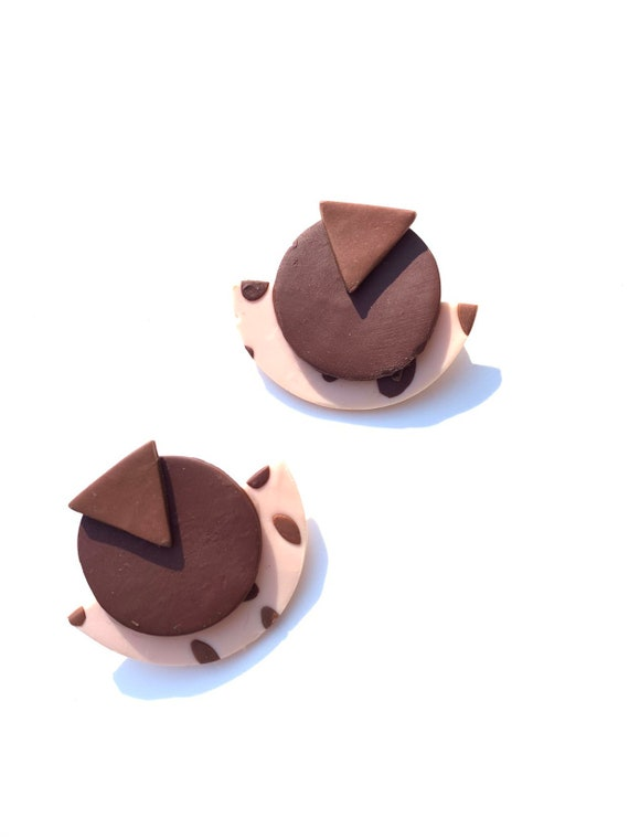 Mary Lu: nuetral eigities inspired geometric nude & brown clay earrings, women, girls, statement, one of a kind, polymer, color block,