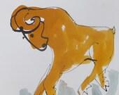 Scorpio - Horoscope - Astro Original Drawing free shiping - ink Gouache animal Aquarell black white birthday8,2x5,5 inch