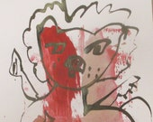 Lion  - Original Drawing with colored Ink and Bambu-Stick - 8,27 x 5,51i