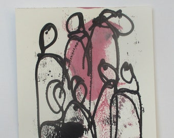 citylife people - Original Drawing with colored Ink and Bambu-Stick - free shiping blue 8,27 x 5,51i