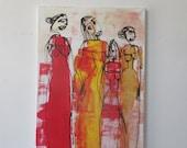 modern girls Original Drawing acylic /  Canvas / art xl 20,56 x 39,37 inch
