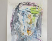 kubism yellow portrait expressive girl - Nude Original Drawing with colored Ink and Bambu-Stick 11,81 x 8,27 inch