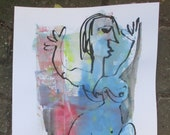 abstract blue nude scene, expressive coffee Original Drawing Ink and Bambu-Stick - free shiping 11,81 x 8,27 inc pink gold landscape