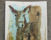expressive coffee donkey - Nude Original Drawing with colored Ink and Bambu-Stick - free shiping 11,81 x 8,27 inc pink gold landscape