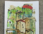little italian coffee town - Original Drawing with colored Ink and Bambu-Stick - free shiping 11,81 x 8,27 inc pink gold landscape