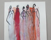 fashion girls - Original Drawing with colored Ink and Bambu-Stick - 8,27 x 5,51i