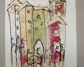 italy, tuscany scene, expressive coffee Original Drawing Ink and Bambu-Stick - free shiping 11,81 x 8,27 inc pink gold landscape