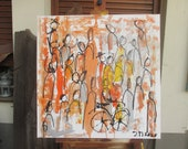 abstract orange people in the city painting - unique expressive painting mintgreen