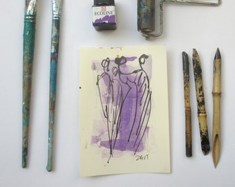 Ladies - people - Original Drawing with colored Ink and Bambu-Stick - free shiping purpur blue 8,27 x 5,51i