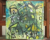 Tuscany, Acryl, blue city , stretched Canvas, Drawing, original, ready to hag, modern art, acyl painting, by Sonja Zeltner-Müller, travel