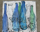 bottle party / black Canvas / Drawing 15,74 x 15,74 inch