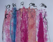 abstract girls , expressive coffee Original Drawing Ink and Bambu-Stick - free shiping 11,81 x 8,27 inc pink gold landscape