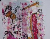 Musik, Jazztheme, expressive coffee Original Drawing Ink and Bambu-Stick - free shiping 11,81 x 8,27 inc pink gold landscape