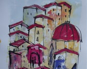 Italy Tuscany Original Drawing with colored Ink and Bambu-Stick 11,81 x 8,27 inch