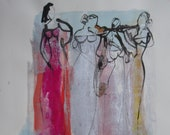 abstract jazz girls, expressive coffee Original Drawing Ink and Bambu-Stick - free shiping 11,81 x 8,27 inc pink gold landscape